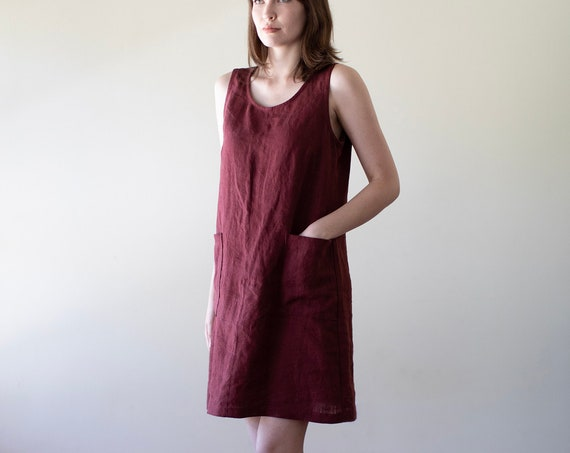 Small Batch & READY TO SHIP - Mahogany Heavy-weight, Scoop Neck, Shift Tank Dress, Jumper Dress, Linen Tank Dress