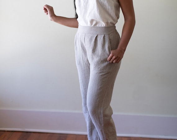 Linen - Pant, Pleated Front with Elastic Back, Ankle, Relaxed Fit, Linen Pant