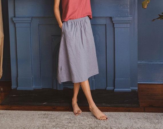 Linen - Midi Skirt, Side Slits, Pockets, Elastic Waist, Linen Skirt