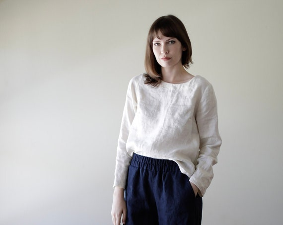 Small Batch & READY TO SHIP Linen - Scoop Neck, Long Sleeve, Relaxed Fit, Linen Top