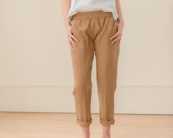 READY TO SHIP - Linen Pant, Ankle Length, Relaxed Fit, Elastic Waist, Linen Pant