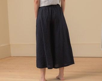 Linen - Wide Leg Cropped Pant, Relaxed Fit, Elastic Waist, Linen Pant