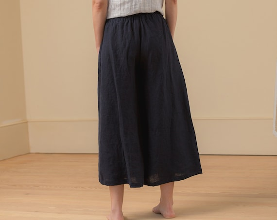 Linen - Wide Leg Cropped Pant, Relaxed Fit, Elastic Waist, Linen Pant