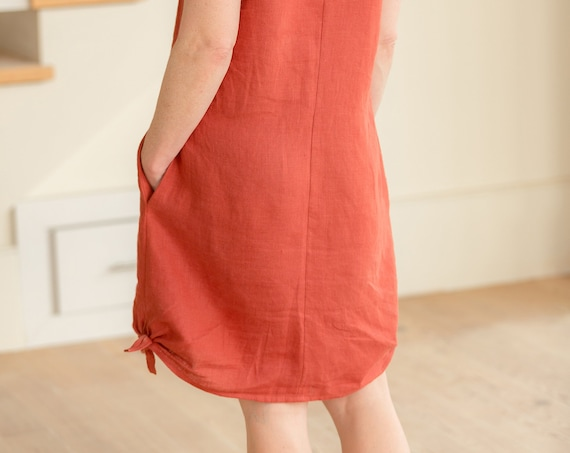 Ready to Ship - Size Large -  Linen Vneck, Side Tie, Linen Dress