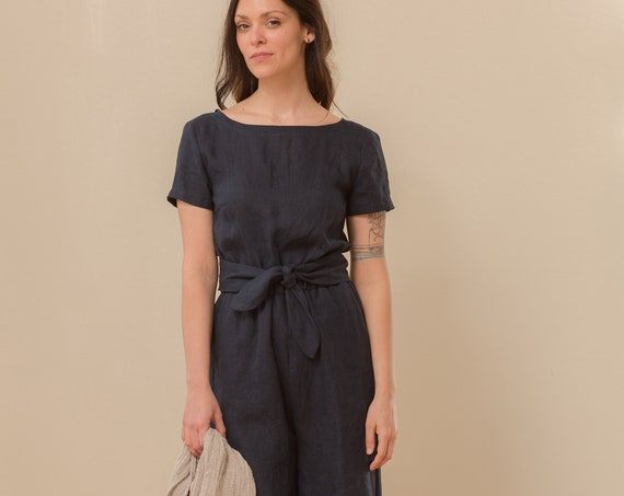 Linen - Jumpsuit, Short Sleeve, Wrap Back, Cropped Leg, Linen Jumpsuit