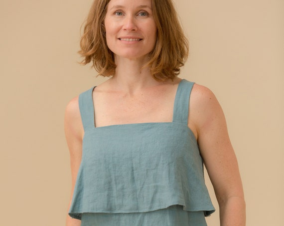 Linen - Two Tier, Strappy, Linen Tank Top
