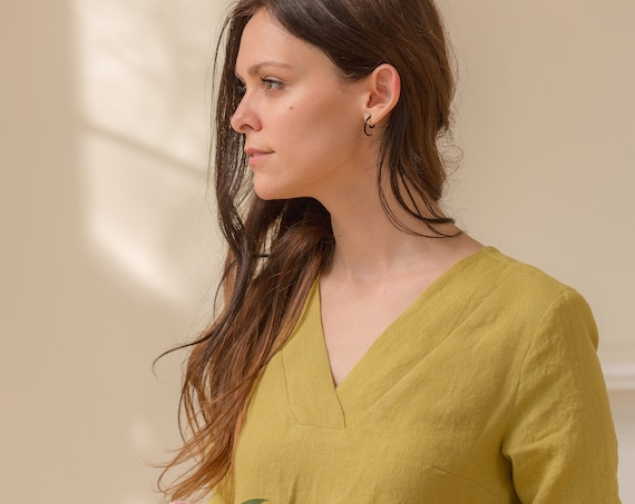 Small Batch & READY TO SHIP - Linen V Neck Linen Shift Dress, 3/4 Sleeve, Relaxed Fit, Pockets