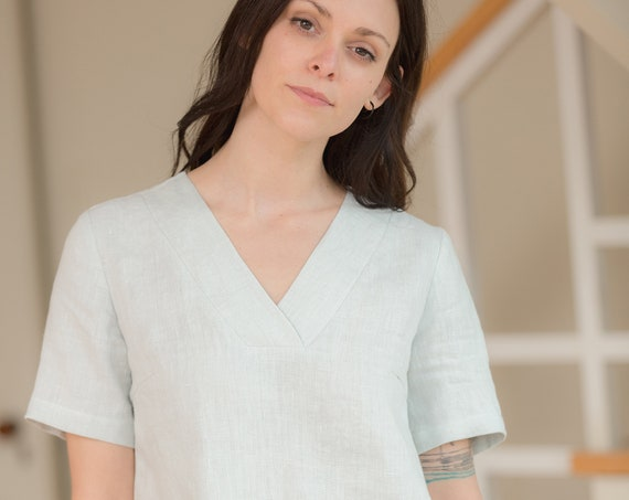 Ready to Ship - Size Medium - V Neck Linen Top, Short Sleeve, Loose Fitting