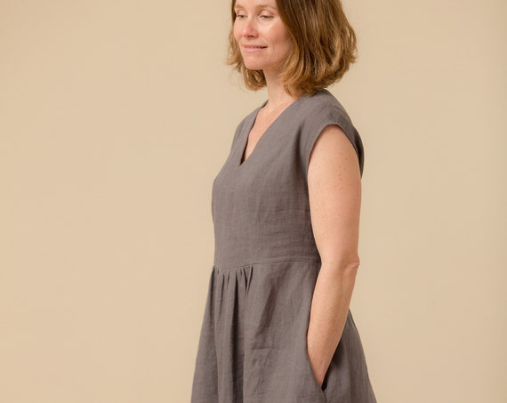 Linen - V Neck, Tiered, Bohemian Dress, Linen Dress