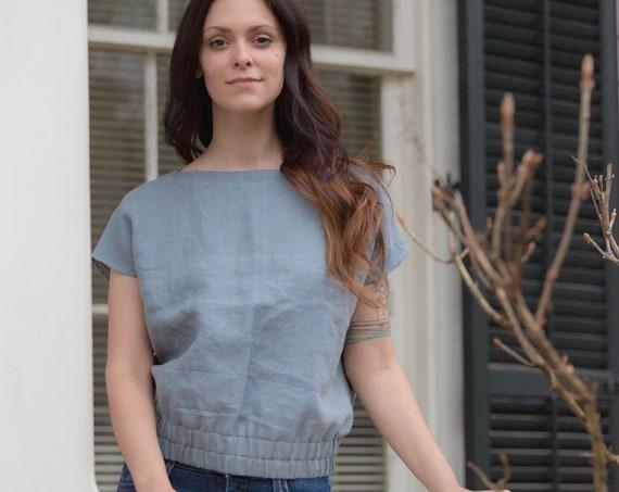 Linen - Boatneck, Short Sleeve, Loose Fitting, Linen Top