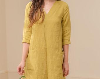 788c93722f Linen - V Neck Linen Shift Dress