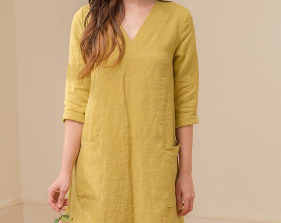 Linen - V Neck Linen Shift Dress, 3/4 Sleeve, Relaxed Fit, Pockets