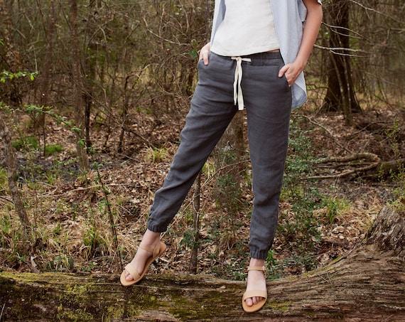 Linen - Jogger, Ankle Length, Relaxed Fit, Elastic/Drawstring Waist, Linen Pant