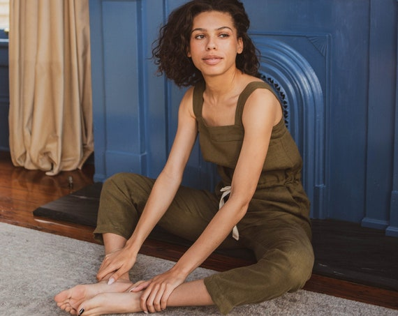 Small Batch & READY TO SHIP - Linen Jumpsuit, Drawstring Waist, Tapered Leg, Side Pockets