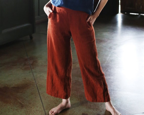 Small Batch & READY TO SHIP - Pant, Flat-Front Waist with Elastic Back, Cropped, Wide Leg, Relaxed Fit, Linen Pant