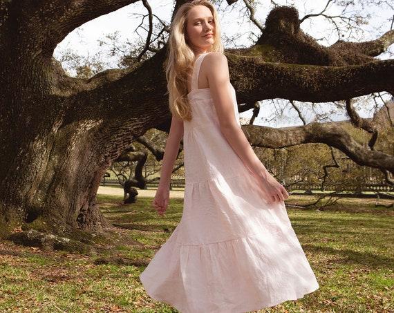 Linen - Maxi Sundress, Tiered, Bohemian Dress, Linen Dress