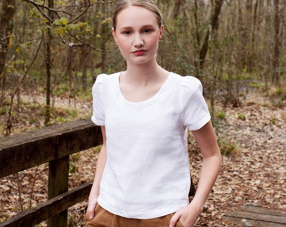 Small Batch & READY TO SHIP - Puff Sleeve, Puff Sleeve, Relaxed Fit, Linen Top