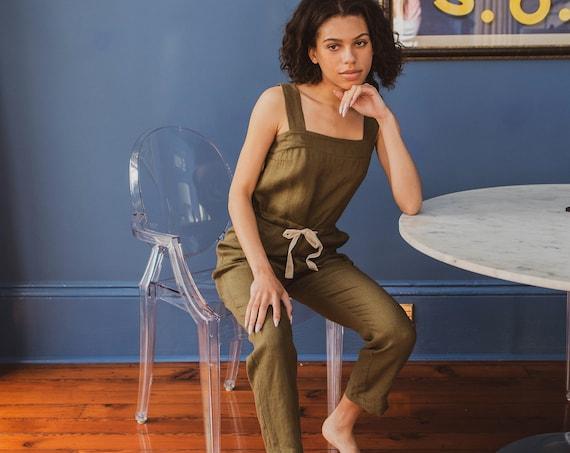 Linen - Jumpsuit, Sleeveless, Drawstring  Waist, Linen Jumpsuit