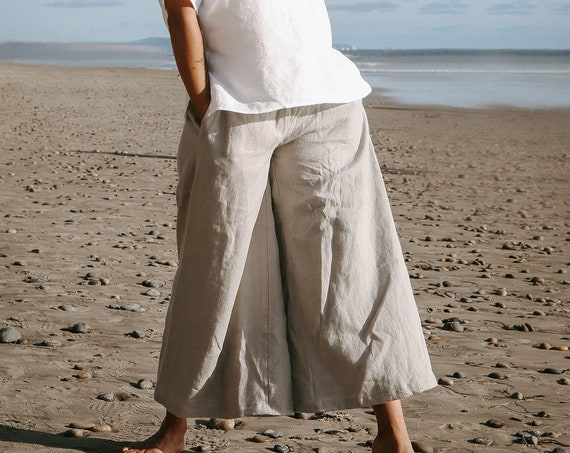 READY TO SHIP - Linen Culotte Pant, Relaxed Fit, Wide Leg, Elastic Waist, Linen Pant