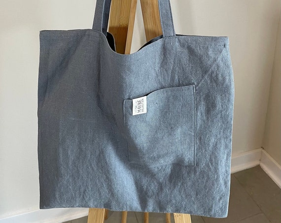 Upcycled - Flat Bag with Pocket, 100% Linen, Made from Scraps, Shoulder Tote