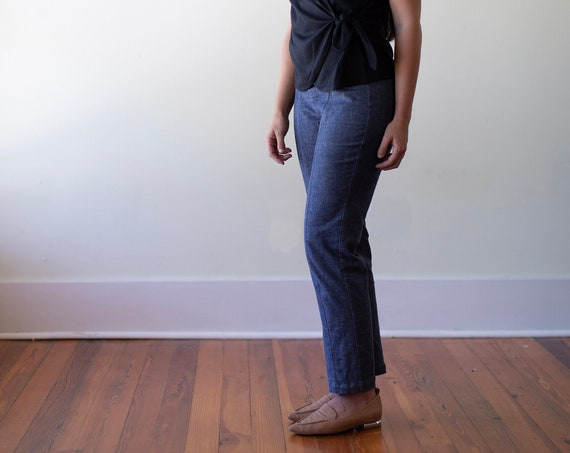 Organic Cotton Stretch Denim - Pant, Ankle Length, Vertical Seam Detail, Back Pockets