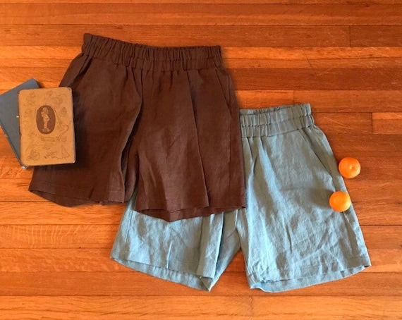 Ready to Ship - Size M, L -Linen Shorts, Relaxed Fit, Elastic Waist, Linen Shorts