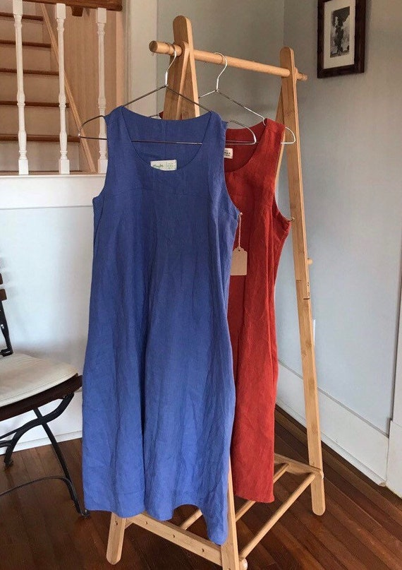 Ready to Ship- Size XS,S,L - Linen Scoop Neck, Racerback, Swing Tank Dress, Linen Tank Dress