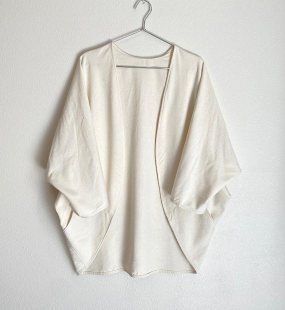 Raw Silk Kimono Wrap with Pockets