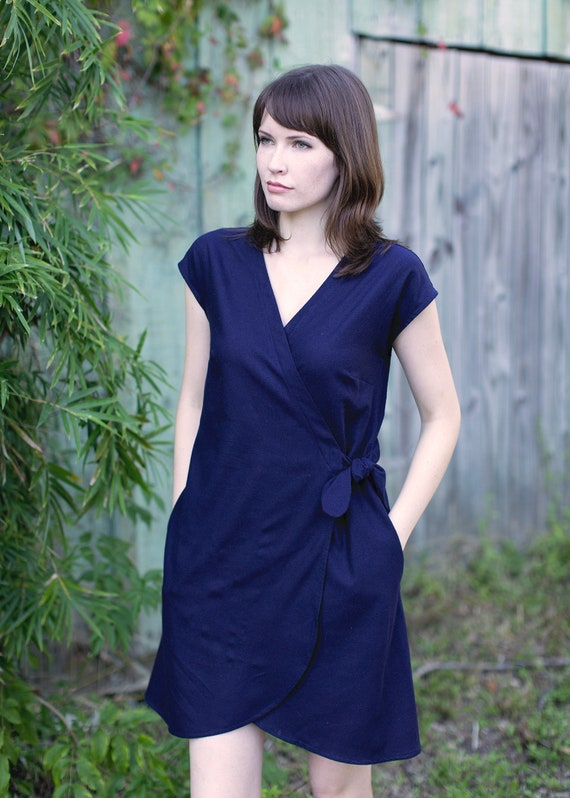 Raw Silk - Wrap Dress, Short Sleeve, Tie Waist