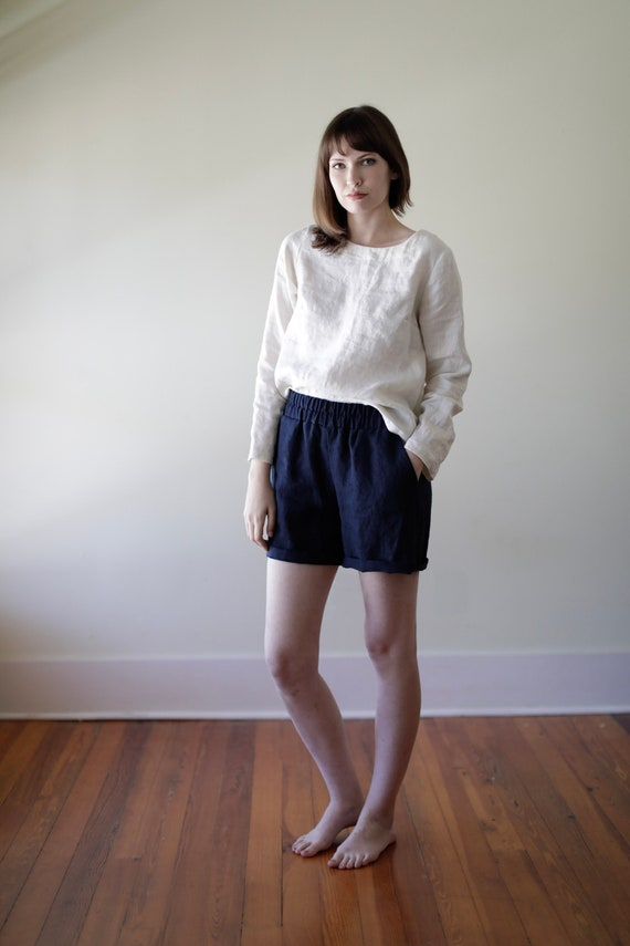 READY TO SHIP - Midnight Linen Shorts, Relaxed Fit, Elastic Waist, Linen Shorts