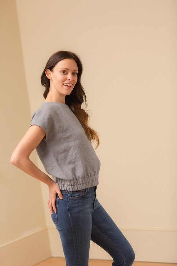 Ready to Ship - Size M,L,XL - Linen Boatneck, Short Sleeve, Loose Fitting, Linen Top