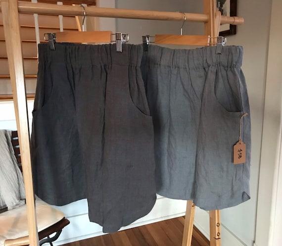 Ready to Ship - Size S, M, L - Linen Skirt, Curved Hem, Pockets, Elastic Waist, Linen Skirt