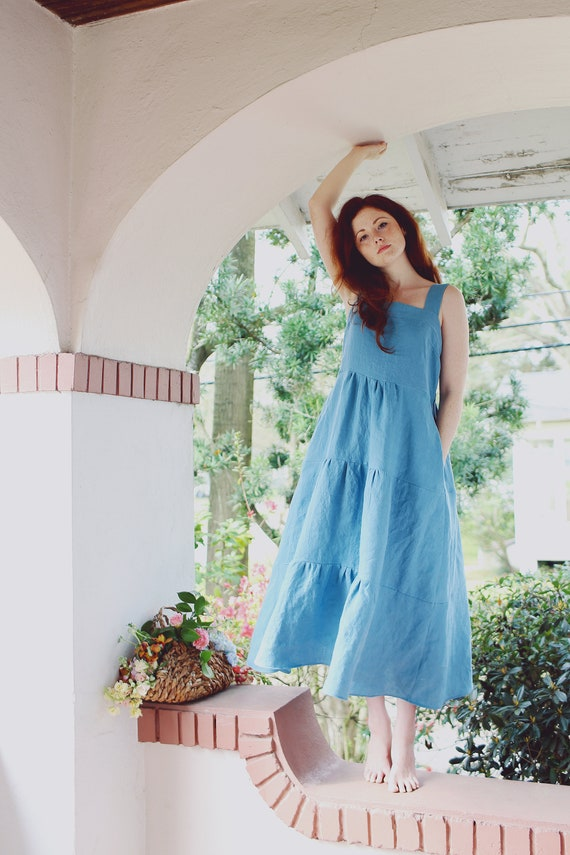 Linen - Maxi Sundress, Tiered, Bohemian Dress, Linen Dress