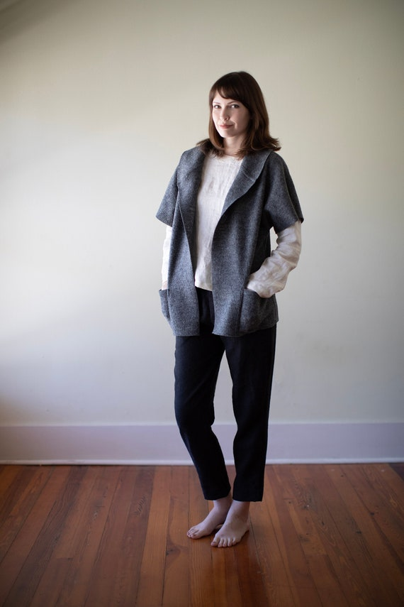 100% Wool Wrap - Boiled/Fulled Wool Wrap with Big Pockets