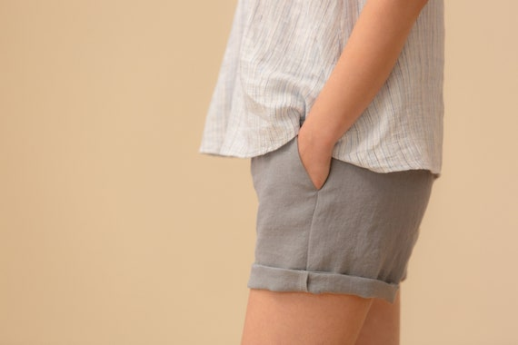 Linen - Shorts, Relaxed Fit, Elastic Waist, Linen Shorts