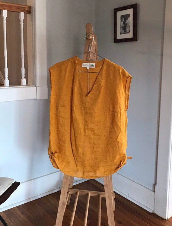 Ready to Ship - Size Large - Linen Vneck, Side Tie, Linen Top