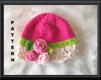 83303abb5db Baby Hat Pattern Knitted Hat Pattern Newborn Hat Pattern Infant Hat Pattern  Flower Hat Pattern Children Clothing  BOLD AND BEAUTIFUL