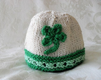 eef0046d29a St. Paddy s Day Knitted Irish Baby Hat Irish Baby Beanie St. Patrick s Day Hat  Shamrock Baby Beanie Knitted Shamrock Cap baby girl hat