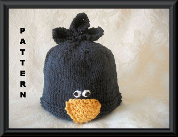 Knitted Hat Pattern Baby Black Crow Hat Pattern Infant Hat Etsy