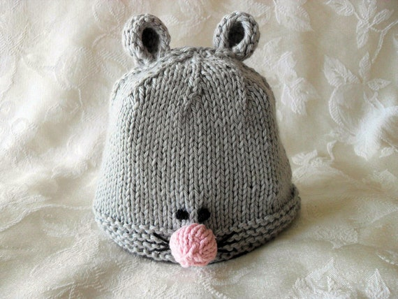 Baby Hats Knitting Knit Baby Beanie Hand Knitted Mouse Baby  0a058078a5b