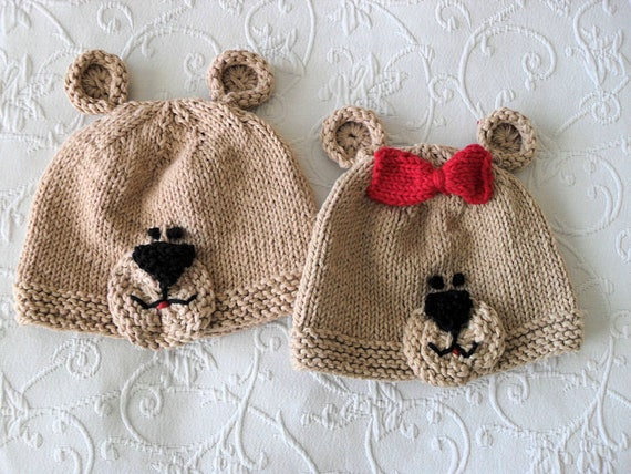 Gestrickte Teddybär Mütze Baby Tier Baby Beanie Baby Mütze | Etsy