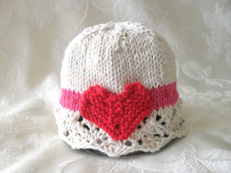 9ddfa483678 Valentine Baby Hats Knitting Knitted Heart Baby Cap Cotton
