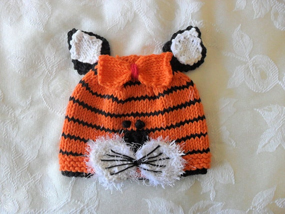 1aeb2a12691 Baby Hat Knitting Knit Baby Hats Tiger Baby Beanie Knit Animal