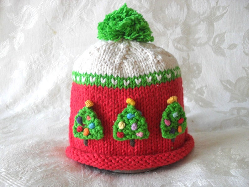 73207c55f2a89 Baby Hat Knitted baby Beanie Knit Baby Hat Knitted Baby Hats Christmas Tree  Baby Hat Christmas Baby Hat: In stock and ready to ship - 0-3 mo