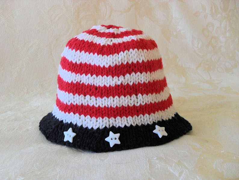 96cbae409 Knit Baby Hat Hand Knitted Fourth of July Baby Bonnet Knitted Independence  Day Baby Beanie Patriotic Brimmed Baby Hat - ON SALE