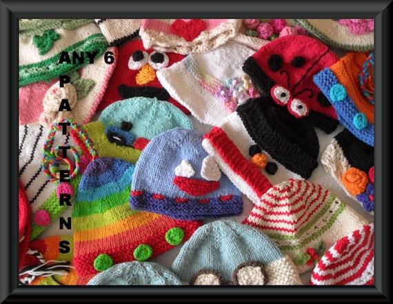 Sechs Baby Mütze Muster stricken Muster Rabatt Bulk Muster | Etsy