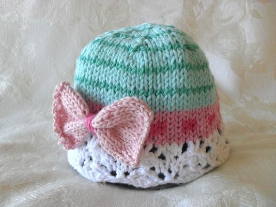 Gestrickte Schleife Baby Mütze stricken Baby Cloche gestrickt | Etsy