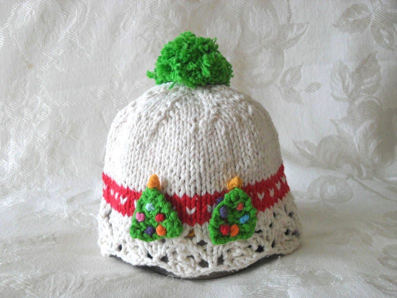 91f9d4bcc33f2 Baby Hat Knitting Knit Baby Hat Knitted Baby Cloche Christmas Baby Hat  Knitted Lace Christmas trees: In Stock 0-3 mos.