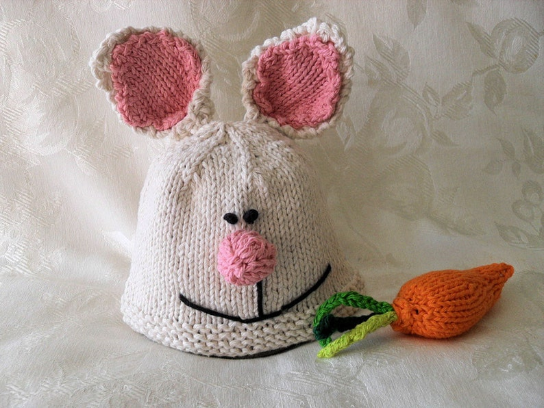 a72e3f253fe Knitted Bunny Baby Hat Knit Rabbit Baby Beanie Easter Bunny