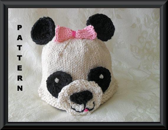 Knitted Hat Pattern Baby Hat Pattern Newborn Hat Pattern Panda Etsy